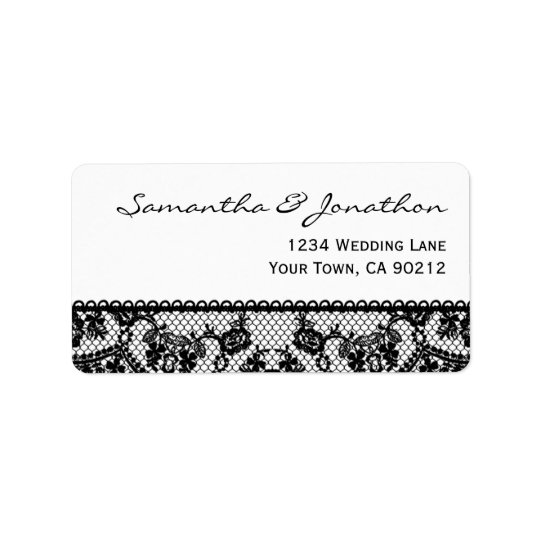 Black Lace and White Address Label