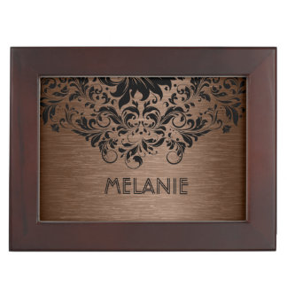 Black Lace & Brown Metallic background Keepsake Box