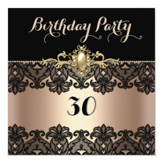 Black Lace Coffee Pearl Trim Birthday Party 2 Custom Invites