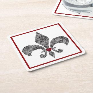 Black Lace Fleur De Lis Square Paper Coaster