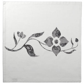 Black Lace Flowers Napkin