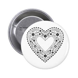 Black Lace Heart 6 Cm Round Badge