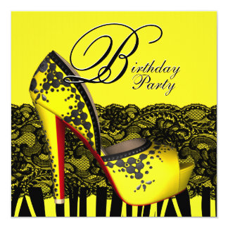 Black Lace High Heel Shoes Yellow Birthday Party 13 Cm X 13 Cm Square Invitation Card
