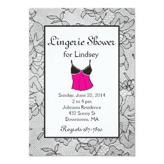 "Black Lace Lingerie Bridal Shower Invites 5"" X 7"" Invitation Card"