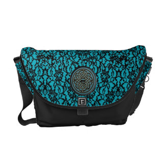 Black Lace on Blue With Black and Blue Celtic Knot Messenger Bags
