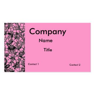 black lace over pink feminine business card