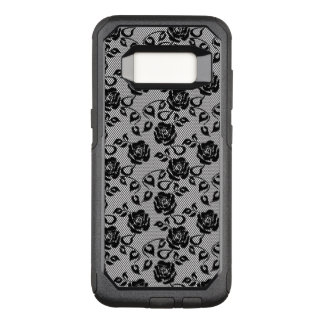 Black lace pattern on white background OtterBox commuter samsung galaxy s8 case
