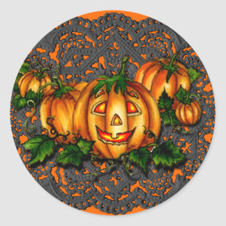 BLACK LACE, PUMPKIN PATCH by SHARON SHARPE Round Sticker