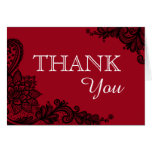 Black Lace Red Modern Goth Thank You Note Card