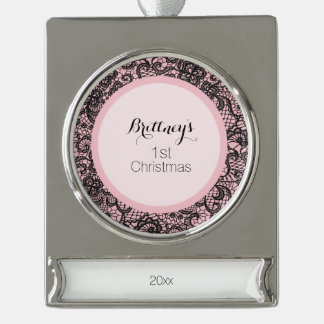 Black Lace Silver Plated Banner Ornament