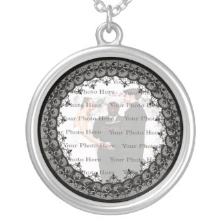 Black Lace Silver Round Photo Necklace