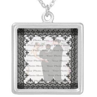 Black Lace Silver Square Photo Necklace