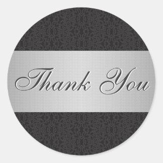 Black Lace & Silver Thank You Sticker/Seal Round Sticker