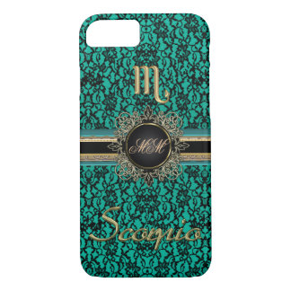 Black Lace Teal Monogram Scorpio iPhone 7 Case