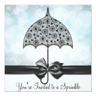 Black Lace Umbrella Blue Baby Sprinkle Baby Shower Card