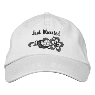 Black Lace Wedding - Just Married Hat Embroidered Cap