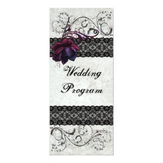 "Black Lace Wedding Program 4"" X 9.25"" Invitation Card"