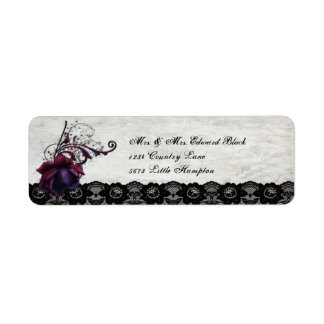 Black Lace Wedding Return Address Label