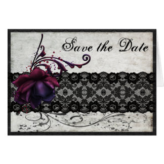 Black Lace Wedding Save the Date Greeting Card