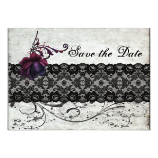 """Black Lace Wedding Save the Date 5"""" X 7"""" Invitation Card"""