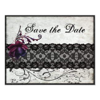 """Black Lace Wedding Save the Date 4.25"""" X 5.5"""" Invitation Card"""