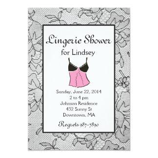 Black Lacy Pink Lingerie Bridal Shower Invites