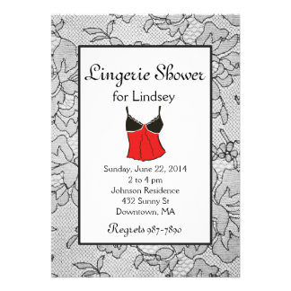 Black Lacy Red Lingerie Bridal Shower Invites