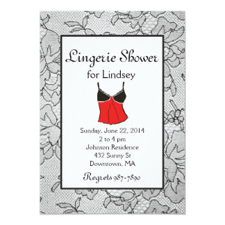 "Black Lacy Red Lingerie Bridal Shower Invites 5"" X 7"" Invitation Card"