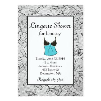 Black Lacy Tiffany Lingerie Bridal Shower Invites