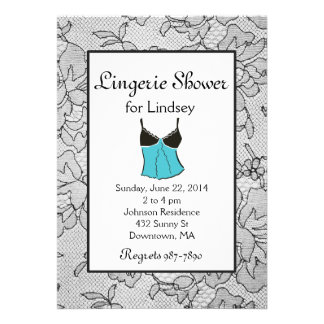 Black Lacy Tiffany Lingerie Bridal Shower Invites