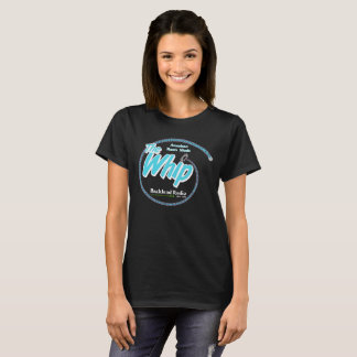 Black Ladies Whip Tee with Blue and White Logo