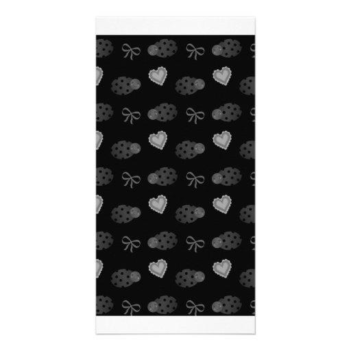Black ladybugs hearts bows pattern custom photo card
