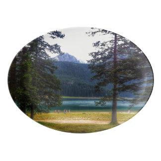 Black Lake. Žabljak. Montenegro. Porcelain Serving Platter