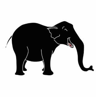 Black Laughing Elephant. Photo Sculpture Key Ring