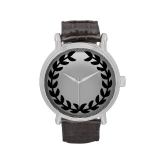 Black laurel monogram watch