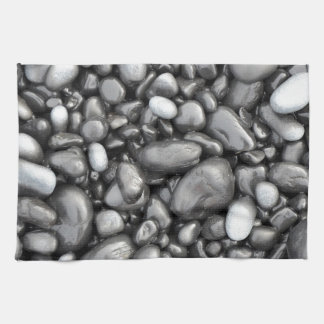 Black lava pebbles pattern kitchen towels