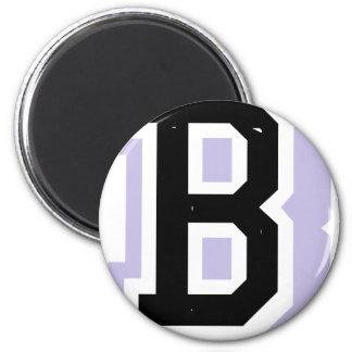 black lavender letter B 6 Cm Round Magnet
