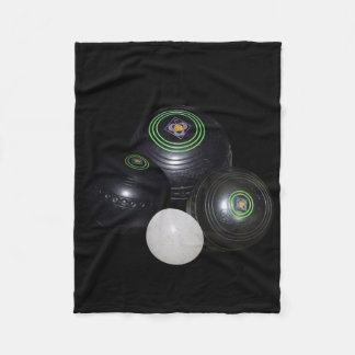 Black Lawn Bowls And Kitty On Black, Fleece Blanket