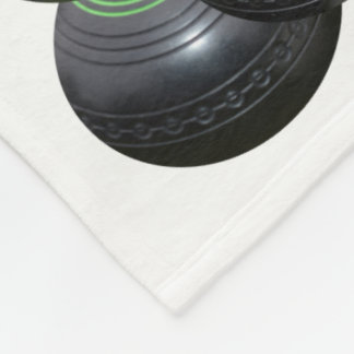 Black Lawn Bowls And Logo On White, Fleece Blanket