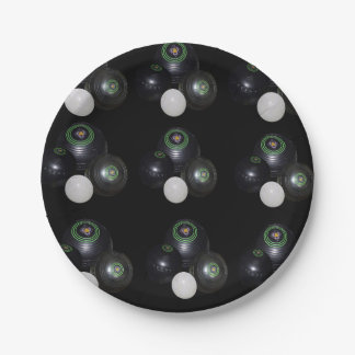 Black Lawn Bowls Pattern, BBQ Party Paper Plate. Paper Plate