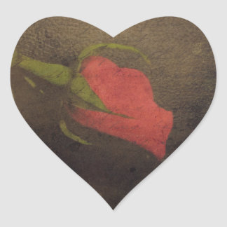 Black Leather and Red Rose Romance Art Heart Sticker
