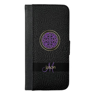 Black Leather Celtic Knot iPhone Wallet Case