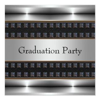Black Leather Chrome Boys Graduation Party Card