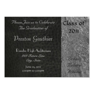 Black Leather & Chrome Graduation Invitation