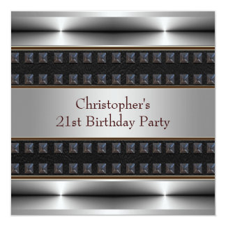 Black Leather Chrome Mans 21st Birthday Party 13 Cm X 13 Cm Square Invitation Card