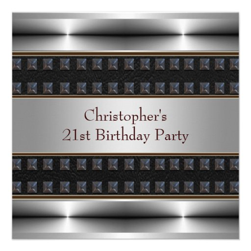 Black Leather Chrome Mans 21st Birthday Party Invites