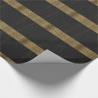 Black Leather Gold Geometric Accents Wrapping Paper