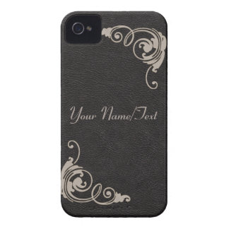 Black Leather Image with Toolwork Scrolls in Cream iPhone 4 Covers