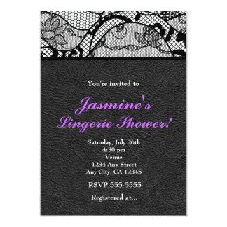 Black Leather & Lace Lingerie Shower Invitation Personalized Announcements