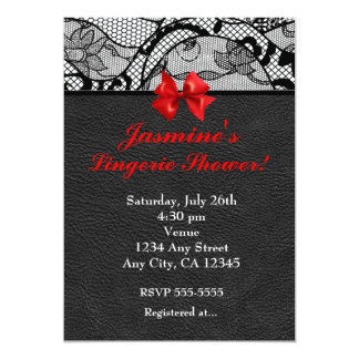 Black Leather & Lace Lingerie Shower Invitation Personalized Invite